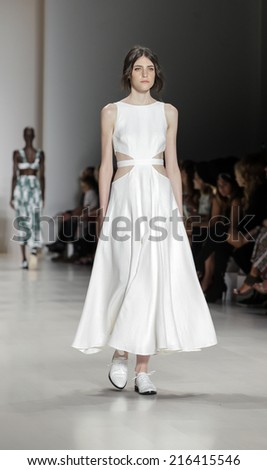 New York, NY, USA - September 06, 2014: Model walks runway for Mara Hoffman Spring 2015 Runway show during Mercedes-Benz Fashion Week New York at the Salon at Lincoln Center, Manhattan