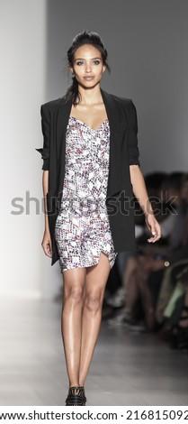 New York, NY, USA - September 04, 2014: Model walks runway for Marissa Webb Spring 2015 Runway show during Mercedes-Benz Fashion Week New York at the Salon at Lincoln Center, Manhattan - stock photo
