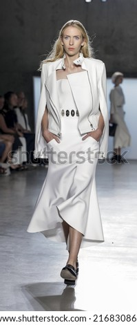 New York, NY, USA - September 05, 2014: Model walks runway for Sally LaPointe Spring 2015 Collection  Runway show during Mercedes-Benz Fashion Week New York at Skylight Modern, Manhattan - stock photo