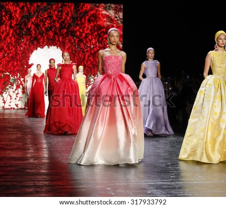New York, NY, USA - September 16, 2015: Models walk runway at Naeem Khan runway show during of Spring 2016 New York Fashion Week at The Arc, Skylight at Moynihan Station,  - stock photo