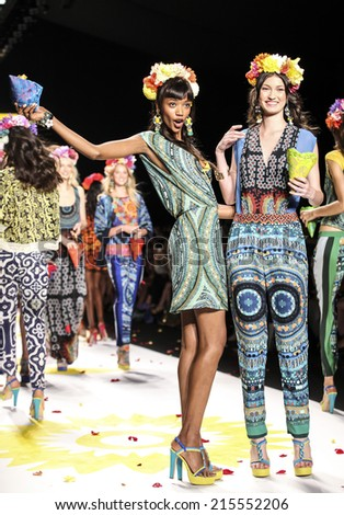New York, NY, USA - September 04, 2014: Models walk runway for Desigual Spring 2015 Runway show during Mercedes-Benz Fashion Week New York at the Theatre at Lincoln Center, Manhattan - stock photo
