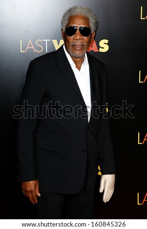 "NEW YORK- OCT 29: Actor Morgan Freeman attends the premiere of ""Last Vegas"" at the Ziegfeld Theatre on October 29, 2013 in New York City. - stock photo"