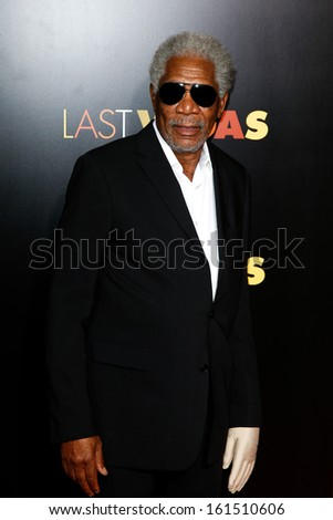 "NEW YORK- OCT 29: Actor Morgan Freeman attends the premiere of ""Last Vegas"" at the Ziegfeld Theatre on October 29, 2913 in New York City. - stock photo"