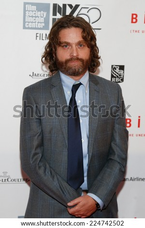 NEW YORK-OCT 11: Actor Zach Galifianakis attends the Closing Night Gala Presentation of 'Birdman Or The Unexpected Virtue Of Ignorance' at New York Film Festival on October 11, 2014 in New York City. - stock photo
