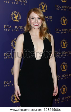 NEW YORK-OCT 15: Actress Bryce Dallas Howard attends the DGA Honors Gala 2015 at the DGA Theater on October 15, 2015 in New York City. - stock photo