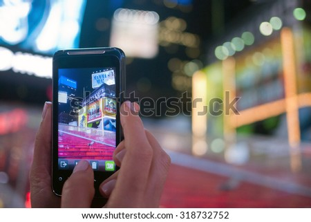 NEW YORK, OCT 29: Mobile phone photograph of a vacated Times Square during Hurricane Sandy on October 29, 2012.  The popular tourist area was vacated for safely precautions. - stock photo