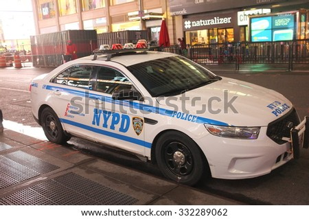 NEW YORK, OCT. 4: NYPD police squad car parked in the streets of New York City, New York, United States taken on Oct. 4, 2015 - stock photo