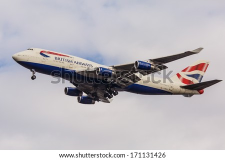 NEW YORK - OCTOBER 8: Boeing 747 British Airways departs from JFK in New York, USA on October 8, 2013. British Airways is one of the oldest airlines and rated top 3 biggest in Europe. - stock photo