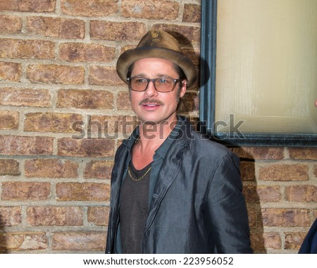 NEW YORK - OCTOBER 15: Brad Pitt sighting at his hotel on October 15, 2014 in New York City. - stock photo