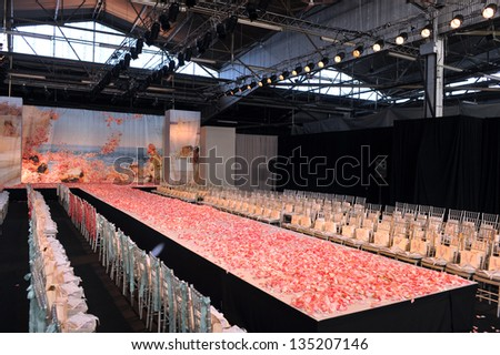 NEW YORK- OCTOBER 14: Empty runway for Claire Pettibone bridal show for Fall 2013 during NY Bridal Fashion Week on October 14, 2012 in New York City, NY - stock photo