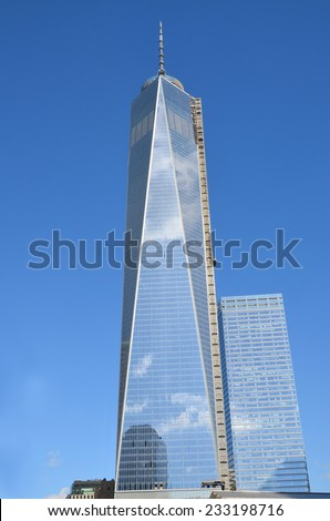 NEW YORK - OCTOBER 24: Lower mahattan and One World Trade Center or Freedom Tower on October 24, 2013 in New York City, New York.is the primary building of the new World Trade Center complex  - stock photo