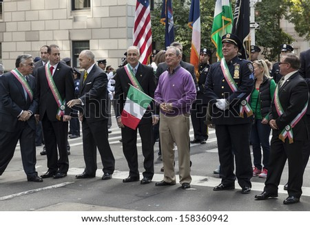 NEW YORK - OCTOBER 14: Mayor Michael Bloomberg & police commissioner Ray Kelly attend the annual Columbus Day Parade on 5th Avenue on October 14, 2013 in New York City