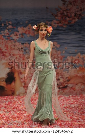 NEW YORK- OCTOBER 14: Model walks runway for Claire Pettibone bridal show for Fall 2013 during NY Bridal Fashion Week on October 14, 2012 in New York City, NY - stock photo