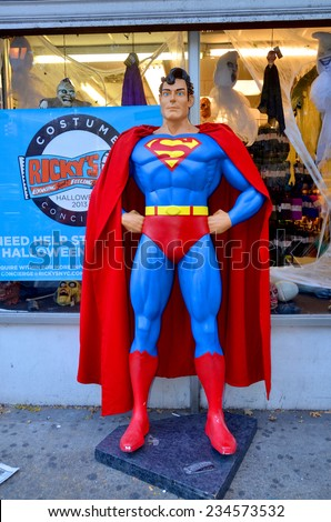 NEW YORK OCTOBER 27:Superman mannequin in front costume store on october 17, 2013 in NY. Superman character was created by Jerry Siegel and Joe Shuster in 1933  - stock photo
