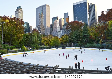 NEW YORK - OCTOBER 29: The Wollman Skating Rink in Central Park on October 29 2013 in New York City. Wollman Skating Rink is operated by the Trump Organization and is now known as TrumpSkating Rink. - stock photo