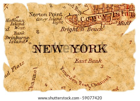 New York on an old torn map, isolated. Part of the old map series. - stock photo