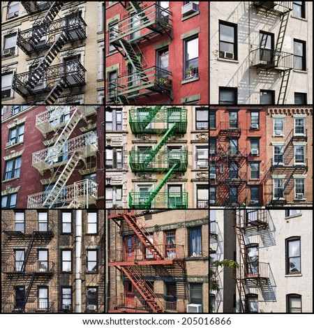 New York outside fire escape safety stairs collage - stock photo