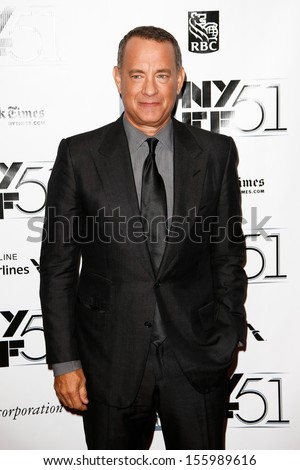 "NEW YORK-SEP 27: Actor Tom Hanks attends the opening night gala of the 2013 New York Film Festival at the premiere of ""Captain Phillips"" at Alice Tully Hall on September 27, 2013 in New York City. - stock photo"