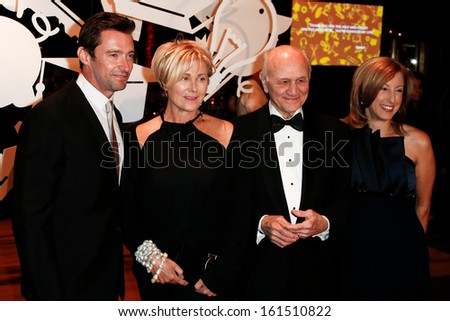 NEW YORK-SEP 17: Hugh Jackman (L), wife Deborra-Lee Furness and Nicholas Scoppetta attend the annual New Yorkers For Children Fall Gala at Cipriani 42nd Street on September 17, 2013 in New York City