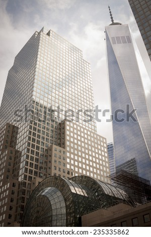 NEW YORK - SEPT 11, 2014: Buildings that make up the World Financial Center, including the Freedom Tower, on the anniversary of the 2001 September 11 terrorist attacks in Lower Manhattan. - stock photo