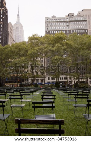 NEW YORK - SEPT 11: 2,753 chairs in Bryant Park facing Ground Zero commemorate victims who perished in the attacks on the World Trade Center buildings on 9/11 on September 11, 2011 in New York.