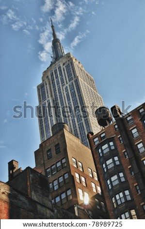 NEW YORK - SEPT 24 : Empire state building facade on September 24, 2008 in New York City, NY. It stood as the world's tallest building for more than 40 years, from 1931 to 1972. - stock photo