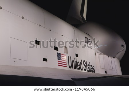 NEW YORK - SEPT 19: Intrepid Sea, Air & Space Museum. Space shuttle Enterprise was completed on July 19, 2012. New York, September 19, 2012 - stock photo