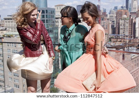 NEW YORK - SEPT 10: Kaitlyn Jenkins, Ann Yee, and India De Beaufort at the ANN YEE Spring/Summer 2013 collection presentation for Mercedes-Benz Fashion Week in New York on September 10, 2012. - stock photo