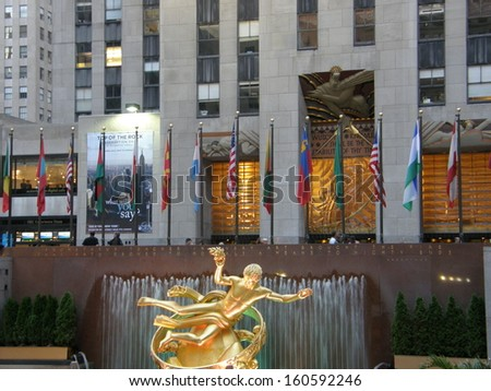 NEW YORK - SEPT 20: Statue of Prometheus above the ice rink at the Rockefeller Center on September 20, 2008, in Manhattan New York. It was created by American sculptor Paul Manship. - stock photo