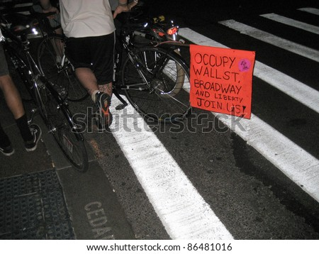NEW YORK - SEPT 24: Unidentified Occupy Wall Street protesters with bicycles near Zuccotti Park, Lower Manhattan, on September 24, 2011 in New York City. The protest started September 17.