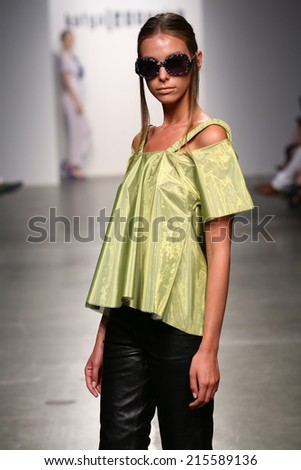 NEW YORK - SEPTEMBER 06: A Model walks runway for Katya Leonovich Spring Summer 2015 fashion show at  during New York Fashion Week on September 06, 2014 in NYC.  - stock photo