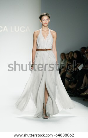 NEW YORK - SEPTEMBER 14: A model walks the runway at the Luca Luca collection presentation for Spring/Summer 2011 during Mercedes-Benz Fashion Week on September 14, 2010 in New York.