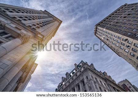NEW YORK - SEPTEMBER 10: architecture on September 10, 2013 in New York. New York has architecturally significant buildings in a wide range of styles spanning distinct historical and cultural periods. - stock photo