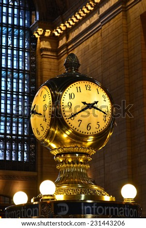 NEW YORK - SEPTEMBER 20: Clock in Grand Central Station, the largest train station in the world by number of platforms, 44, with 67 tracks, on September 20, 2014 in New York.