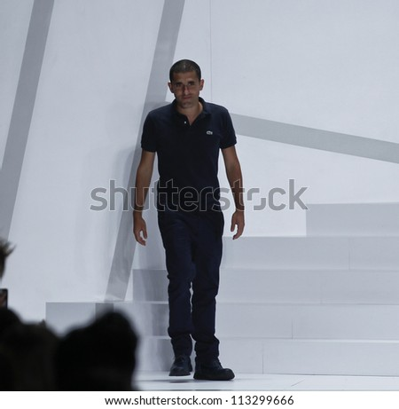 NEW YORK - SEPTEMBER 08: Designer Felipe Oliveira Baptista walks the runway for Lacoste Collection during Spring/Summer 2013 at Mercedes-Benz Fashion Week on September 8, 2012 in New York