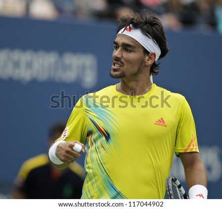 NEW YORK - SEPTEMBER 2: Fabio Fognini of Italy reacts during 4th round match against Andy Roddick of USA at US Open tennis tournament on September 2, 2012 in Flushing Meadows New York - stock photo