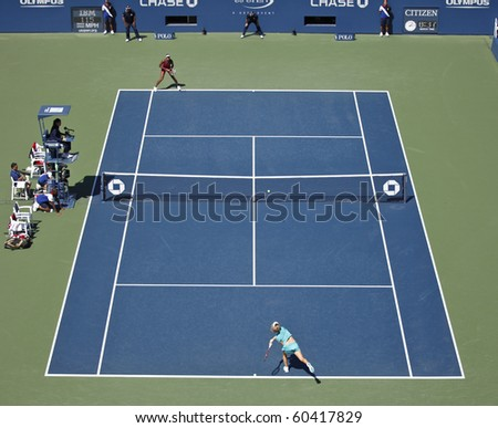 NEW YORK - SEPTEMBER 05: General view of the Ashe Stadium during fourth round match between Venus Williams of USA and Shahar Peer of Israel tennis tournament on September 05, 2010, New York. - stock photo