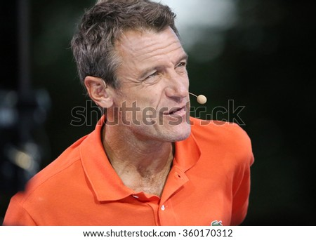 NEW YORK - SEPTEMBER 6, 2015: Grand slam champion and Eurosport analyst Mats Wilander of Sweden comments match  at US Open 2015 at Billie Jean King National Tennis in New York