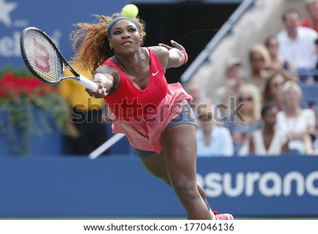 NEW YORK- SEPTEMBER 1: Grand Slam champion Serena Williams during fourth round match at US Open 2013 against Sloane Stephens at Billie Jean King National Tennis Center on September 1, 2013 in New York - stock photo