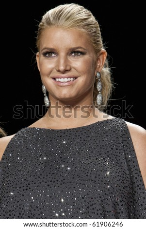 NEW YORK - SEPTEMBER 9: Jessica Simpson serves as Guest Judge at New York Fashion Week Project Runway season 8 finalist fashion show September 9, 2010 in New York, New York - stock photo