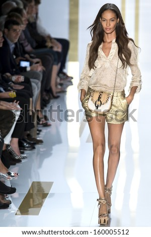 NEW YORK - SEPTEMBER 08: Joan Smalls is walking the runaway at Diane Von Furstenberg Collection for Spring/Summer 2014 fashion show during Mercedes-Benz Fashion Week on SEPTMEBR 08, 2013 in New York - stock photo