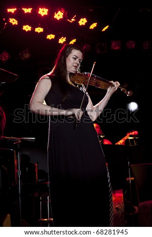 NEW YORK - SEPTEMBER 21: Lara St. John violin and Matt Herskowitz Trio with special guest David Gotay, cello performing Jerusalem Trilogy at Le Poisson Rouge in New York on September 21, 2010