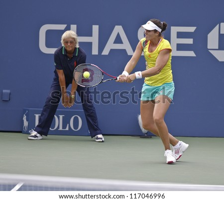 NEW YORK - SEPTEMBER 2: Laura Robson of United Kingdom returns ball during 4th round match against Sam Stosur of Australia at US Open tennis tournament on September 2 2012 in Flushing Meadows New York