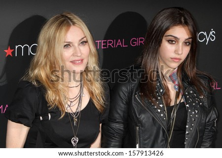 """NEW YORK - SEPTEMBER 22: Lourdes Maria Ciccone Leon and Madonna attend the launch of the """"Material Girl"""" collection at Macy's on September 22, 2010 in New York City. - stock photo"""