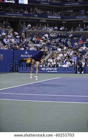 NEW YORK - SEPTEMBER 02: Maria Sharapova of Russia serves the ball during second round match against Iveta Benesova of Czech Republic at US Open tennis tournament on September 02, 2010, New York. - stock photo