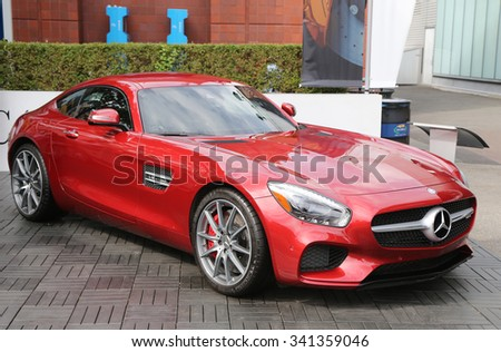 NEW YORK - SEPTEMBER 12, 2015: Mercedes-Benz AMG GT S on display at National Tennis Center during US Open 2015 in New York . Mercedes-Benz is the sponsor and Official Vehicle of the US Open  - stock photo
