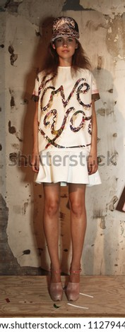 NEW YORK - SEPTEMBER 13: Model shows off dresses during Cynthia Rowley presentation at Spring/Summer 2013 at Mercedes-Benz Fashion Week on September 13, 2012 in New York - stock photo