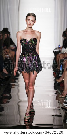 NEW YORK - SEPTEMBER 14: Model walks runway for collection by Sherri Hill at Mercedes-Benz Spring/Summer 2012 Fashion Week in Trump Tower on September 14, 2011 in New York City