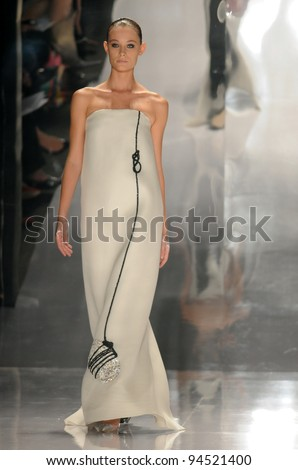 NEW YORK - SEPTEMBER 14: Model walks the runway at the Chado Ralph Rucci Spring/Summer 2012 collection during New York Fashion Week on September 14, 2011 in New York City. - stock photo