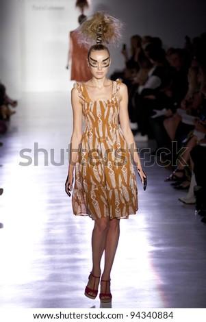 NEW YORK - SEPTEMBER 12: Model walks the runway at the Ivana Helsinki Spring / Summer 2012 collection during New York Fashion Week on September 12, 2011 in  New York City. - stock photo